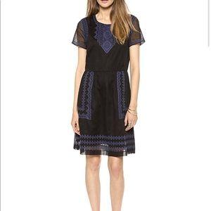 Madewell Augustine black & blue embroidered dress